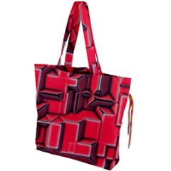 Background With Red Texture Blocks Drawstring Tote Bag by Jojostore