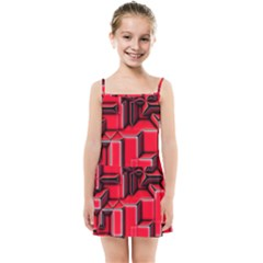 Background With Red Texture Blocks Kids Summer Sun Dress by Jojostore