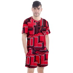 Background With Red Texture Blocks Men s Mesh Tee And Shorts Set by Jojostore