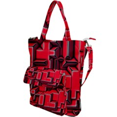 Background With Red Texture Blocks Shoulder Tote Bag