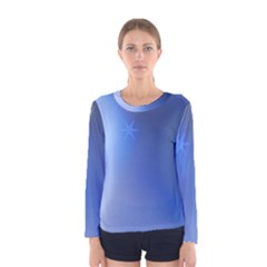 Blue Star Background Women s Long Sleeve Tee