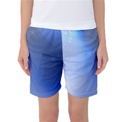 Blue Star Background Women s Basketball Shorts