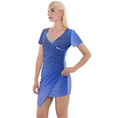 Blue Star Background Short Sleeve Asymmetric Mini Dress by Jojostore