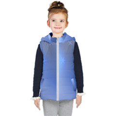 Blue Star Background Kid s Hooded Puffer Vest