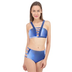 Blue Star Background Cage Up Bikini Set