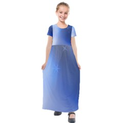 Blue Star Background Kids  Short Sleeve Maxi Dress by Jojostore