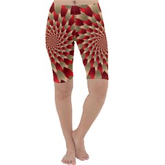 Fractal Red Petal Spiral Cropped Leggings
