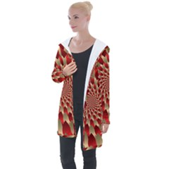 Fractal Red Petal Spiral Longline Hooded Cardigan by Jojostore
