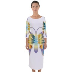 Abstract Animal Art Butterfly Copy Quarter Sleeve Midi Bodycon Dress by Jojostore