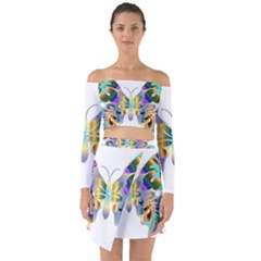 Abstract Animal Art Butterfly Copy Off Shoulder Top With Skirt Set