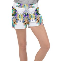 Abstract Animal Art Butterfly Copy Women s Velour Lounge Shorts