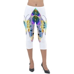 Abstract Animal Art Butterfly Copy Lightweight Velour Capri Leggings  by Jojostore