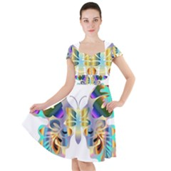 Abstract Animal Art Butterfly Copy Cap Sleeve Midi Dress