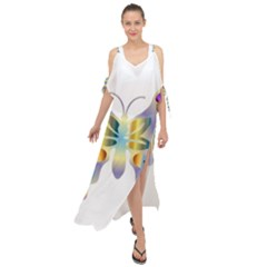 Abstract Animal Art Butterfly Copy Maxi Chiffon Cover Up Dress