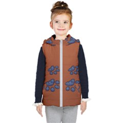 Footprints Paw Animal Track Foot Kid s Hooded Puffer Vest