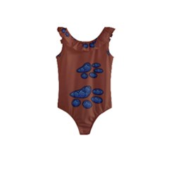 Footprints Paw Animal Track Foot Kids  Frill Swimsuit