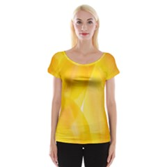 Yellow Pattern Painting Cap Sleeve Top