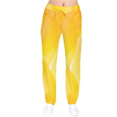 Yellow Pattern Painting Velvet Drawstring Pants