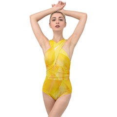 Yellow Pattern Painting Cross Front Low Back Swimsuit by Jojostore