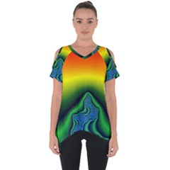 Fractal Wallpaper Water And Fire Cut Out Side Drop Tee