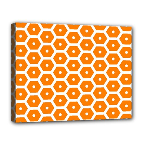 Golden Be Hive Pattern Canvas 14  X 11  (stretched) by Jojostore