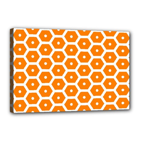 Golden Be Hive Pattern Canvas 18  X 12  (stretched) by Jojostore