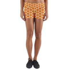 Golden Be Hive Pattern Yoga Shorts by Jojostore