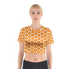 Golden Be Hive Pattern Cotton Crop Top