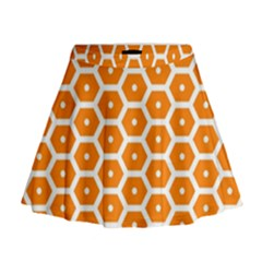 Golden Be Hive Pattern Mini Flare Skirt