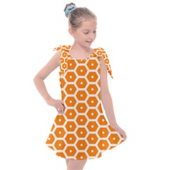 Golden Be Hive Pattern Kids  Tie Up Tunic Dress