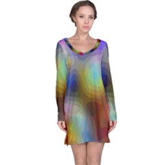 A Mix Of Colors In An Abstract Blend For A Background Long Sleeve Nightdress