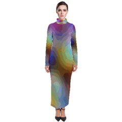 A Mix Of Colors In An Abstract Blend For A Background Turtleneck Maxi Dress