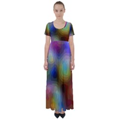 A Mix Of Colors In An Abstract Blend For A Background High Waist Short Sleeve Maxi Dress