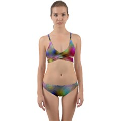 A Mix Of Colors In An Abstract Blend For A Background Wrap Around Bikini Set