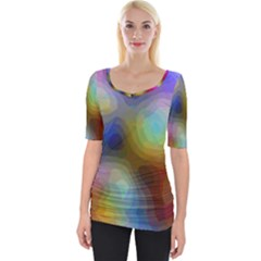 A Mix Of Colors In An Abstract Blend For A Background Wide Neckline Tee by Jojostore