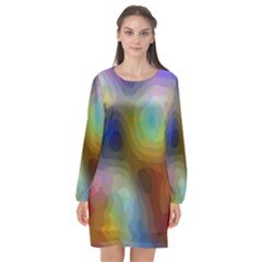 A Mix Of Colors In An Abstract Blend For A Background Long Sleeve Chiffon Shift Dress
