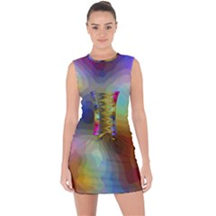 A Mix Of Colors In An Abstract Blend For A Background Lace Up Front Bodycon Dress