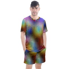 A Mix Of Colors In An Abstract Blend For A Background Men s Mesh Tee And Shorts Set