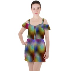 A Mix Of Colors In An Abstract Blend For A Background Ruffle Cut Out Chiffon Playsuit
