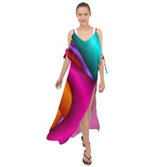 Fractal Wallpaper Color Pipes Maxi Chiffon Cover Up Dress