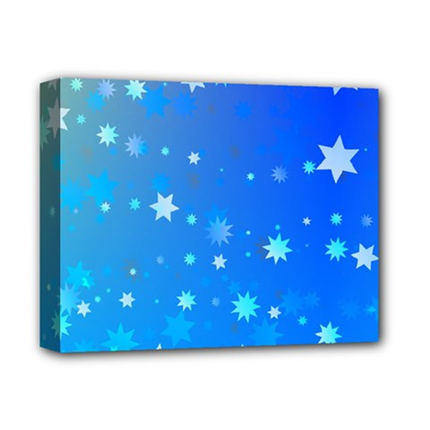 Blue Hot Pink Pattern Blue Star Background Deluxe Canvas 14  X 11  (stretched) by Jojostore