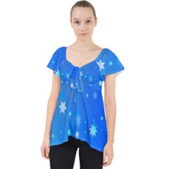 Blue Hot Pink Pattern Blue Star Background Lace Front Dolly Top