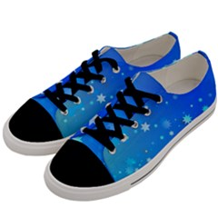 Blue Hot Pink Pattern Blue Star Background Men s Low Top Canvas Sneakers by Jojostore