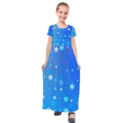 Blue Hot Pink Pattern Blue Star Background Kids  Short Sleeve Maxi Dress by Jojostore