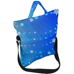 Blue Hot Pink Pattern Blue Star Background Fold Over Handle Tote Bag