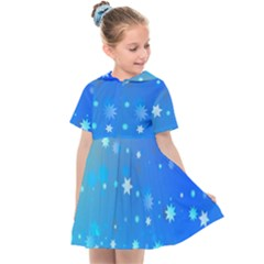 Blue Hot Pink Pattern Blue Star Background Kids  Sailor Dress by Jojostore