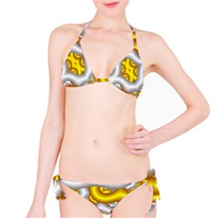 Fractal Background With Golden And Silver Pipes Classic Bikini Set