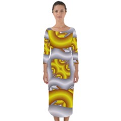 Fractal Background With Golden And Silver Pipes Quarter Sleeve Midi Bodycon Dress by Jojostore