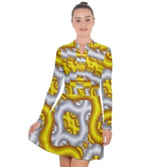 Fractal Background With Golden And Silver Pipes Long Sleeve Panel Dress