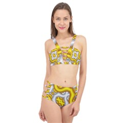 Fractal Background With Golden And Silver Pipes Cage Up Bikini Set